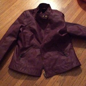 Jackets & Blazers - Burgundy faux leather jacket