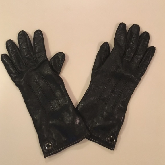 4f11d053fc4ef Coach Accessories | Black Leather Gloves Merino Wool Lined | Poshmark