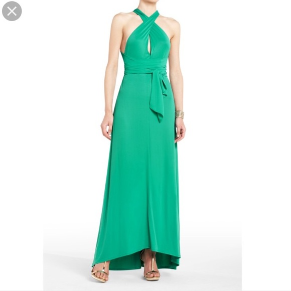 BCBG Dresses | Green Meadows Convertible Halter Maxi Dress | Poshmark
