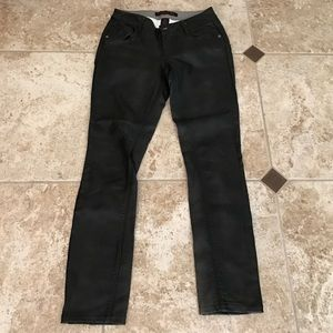 Material Girl Pants - Black skinny coating polyurethane fabric