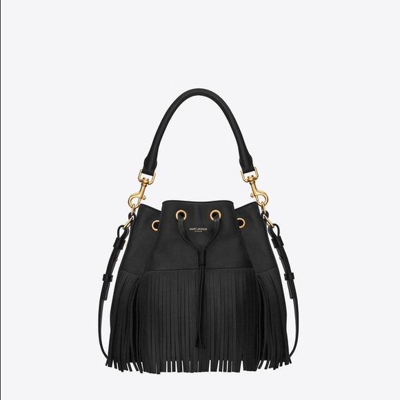 4a3037db6c YSL Saint Laurent Emmanuelle Fringed Bucket Bag. M 58585e27291a3533bf04709c