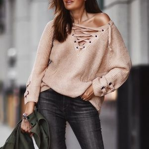 Bare Anthology Sweaters - Lace Up Oversized Sweater