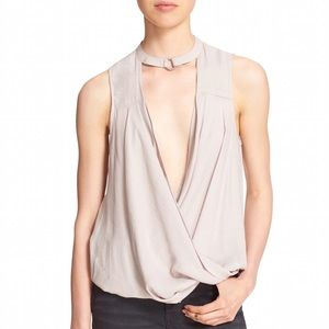 Free People Tops - Silver/Taupe Free People Faux Wrap Top