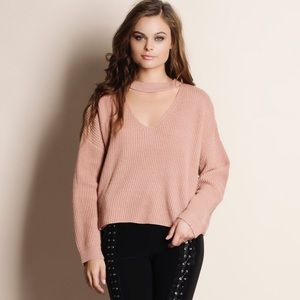 Bare Anthology Sweaters - Cut Out Choker Sweater Top
