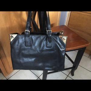 Henri Bendel black leather handbag