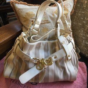 Francesco Biasia Handbags - FRANCESCO BIASIA Taupe StripeCanvas SatchelHandbag