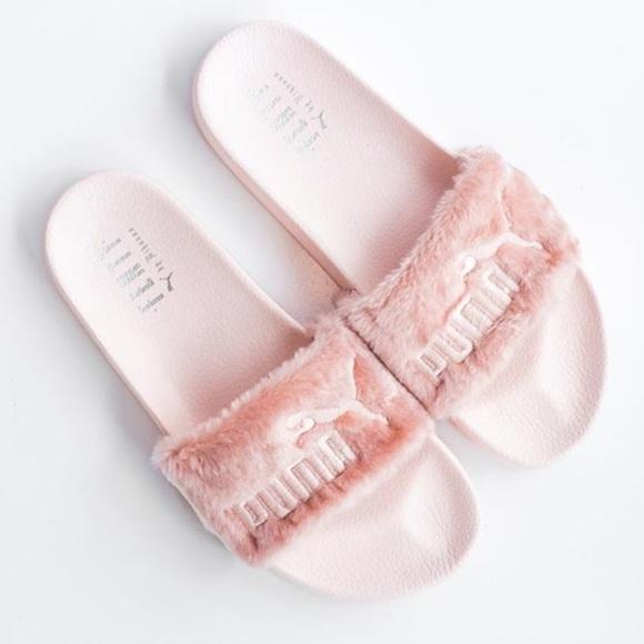 PUMA x Rihanna fenty pink fur slides 2b2e1528a