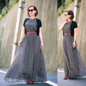 Dresses & Skirts - Sleeveless black & white polka dot maxi dress