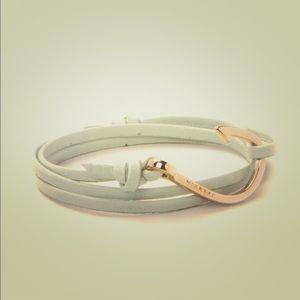 Miansai Jewelry - Miansai rose gold fish hook mint leather bracelet