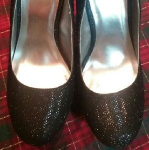 Qupid Black Sparkle Platform Pumps Size 9