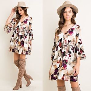 1 HR SALESOPHIA floral bell sleeve dress BERRY