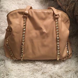 Zara beige bowling bag with gold studs