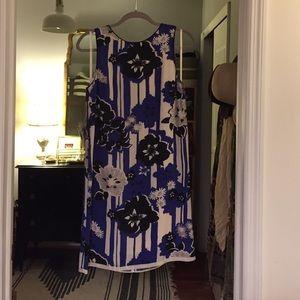 Maeve Anthropologie blue floral silk shift dress