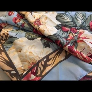 Vintage square silky floral scarf