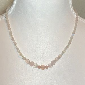 Jewelry - Authentic Rose Quartz Pink Opal Moonstone Necklace