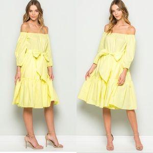 Dresses & Skirts - Long Sleeved Off The Shoulder Dress-LEMON