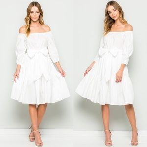 Dresses & Skirts - Long Sleeve Off The Shoulder Dress- WHITE