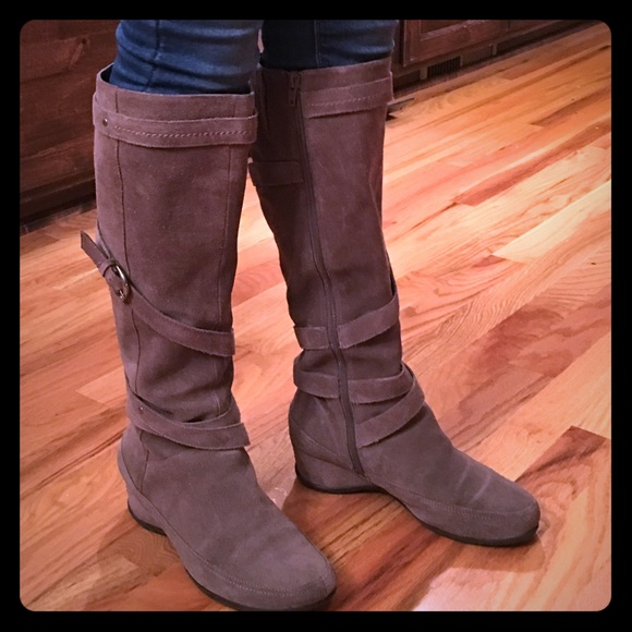 Me Too Shoes Tan Suede Wide Calf Boots Knee Length Poshmark