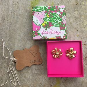HP 1/6 Lilly Pulitzer 962 Gold Bowtie Earrings