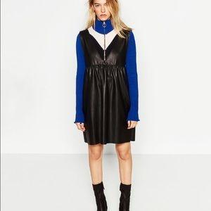Zara Dresses & Skirts - 🆕Zara Faux leather pinafore dress