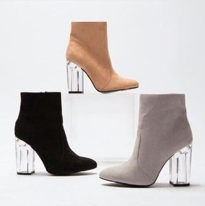 Shoes - //The Emilia// Lucite heel Light grey booties