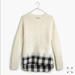 Madewell Sweaters - NWT madewell wintermix cable knit plaid sweater
