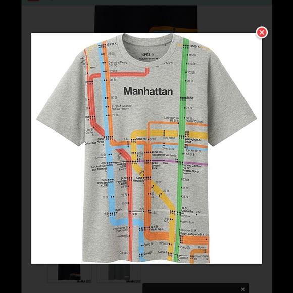 Nyc Subway Map Tshirt.Uniqlo Shirts White Mens Nyc Subway Map Tshirt New Same Graphic