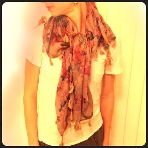 Vintage/anthro look beautiful floral scarf/ shall