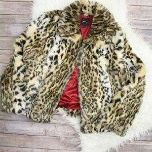 Express Jackets & Blazers - Express Leopard Faux Fur Coat