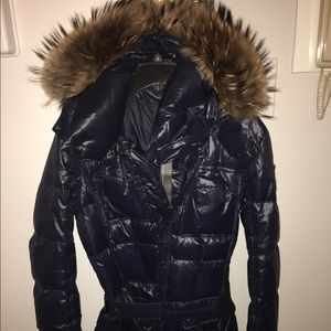 Add Down Jackets & Blazers - Navy blue down ADD coat with fur hood. Sz 8