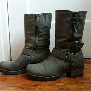 Shoes - Grey mid-calf motorcycle boots