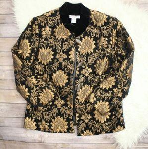 Vintage Jackets & Blazers - Drapers & Damons Gold Floral Blazer