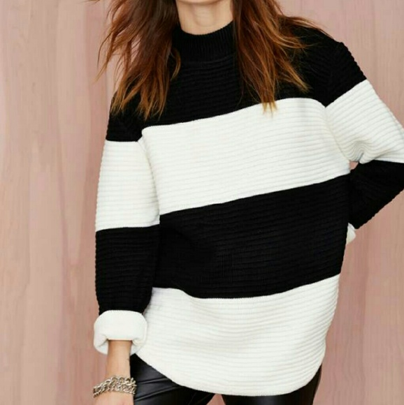 64% off UNIF Sweaters - Unif Black and white striped oversized ...