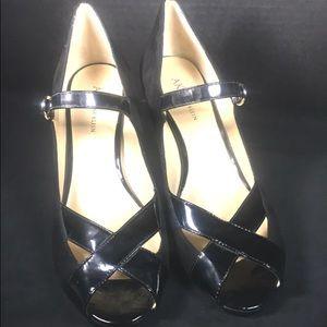 Anne Klein Shoes - ANNE KLEIN Black Suede & Patent Leather Heels 10 M