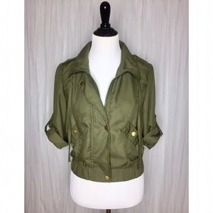 Boy Meets Girl Jackets & Blazers - Olive Green Cropped Zip Jacket