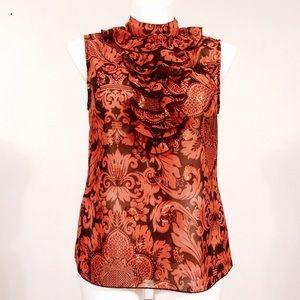 Anna Sui Tops - Anna Sui Metallic Jacquard Ruffle Top