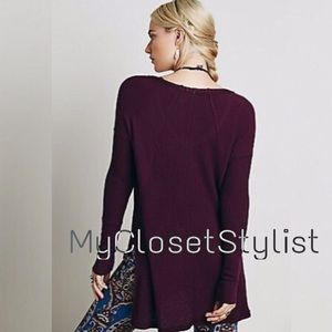 NWT Free People Ventura Purple High-Low Thermal!XS