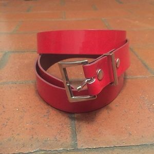 Vintage Accessories - Vintage Red Belt with a silver buckle