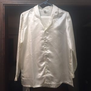 Vintage Other - Silky White Vintage Pajama Set Long Sleeve L/XL