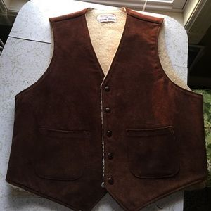 vintage leather shearling vest