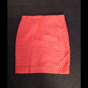 J. Crew Neon Orange Dot No 2 Pencil Skirt 12 NWT