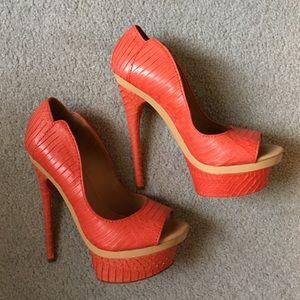 L.A.M.B. Shoes - L.A.M.B. Orange Ilane Peeptoe Pump