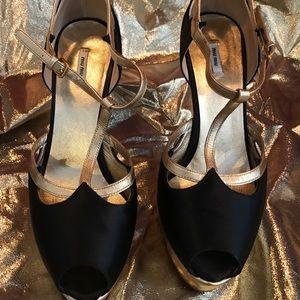 Black /Gold  Miu Miu platform heels