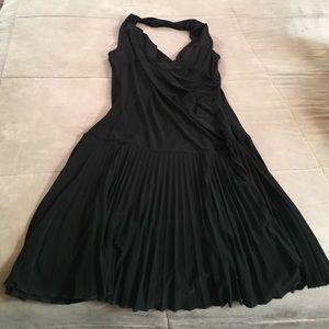 Black surplice halter dress