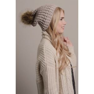 Hannah Beury Accessories - Mocha Pom Beanie