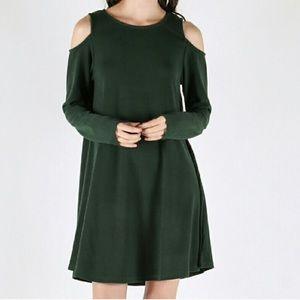 Cold shoulder swing dress
