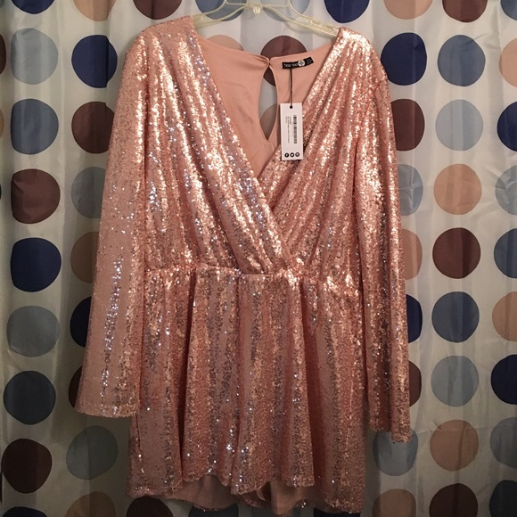 b79e443ec11a Rose Gold Sequin Romper