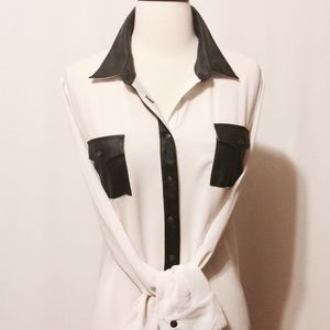 Tops - Cream Chiffon Blouse with Black Leather' Trim