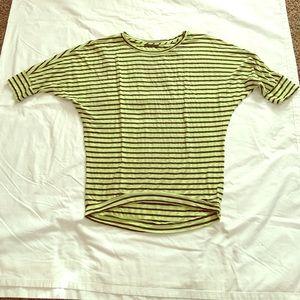 Velvet Tops - Velvet Stripe Dolman Top Green/charcoal Medium