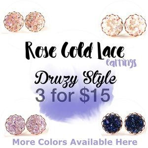 thejeweladdict Jewelry - 3 for 15🎀 faux druzy rose gold lace studs